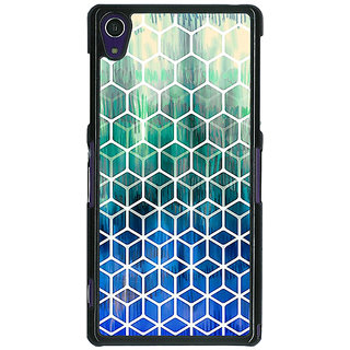 1 Crazy Designer Blue Hexagon Pattern Back Cover Case For Sony Xperia Z1 C470285
