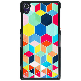 1 Crazy Designer Multicolour Hexagon Pattern Back Cover Case For Sony Xperia Z1 C470286