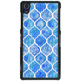 1 Crazy Designer White Blue Moroccan Tiles Pattern Back Cover Case For Sony Xperia Z1 C470296