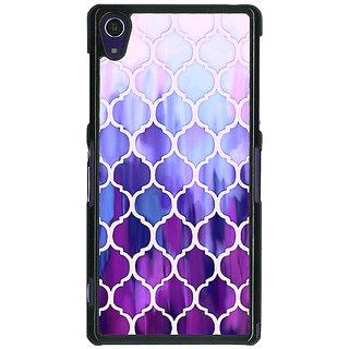 1 Crazy Designer White Purple Moroccan Tiles Pattern Back Cover Case For Sony Xperia Z1 C470297