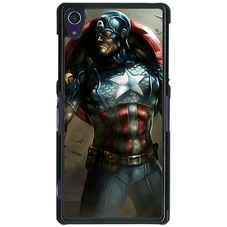 1 Crazy Designer Captain America Back Cover Case For Sony Xperia Z1 C470852
