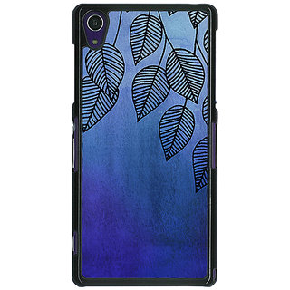 1 Crazy Designer Blue Leaves Pattern Back Cover Case For Sony Xperia Z1 C470218