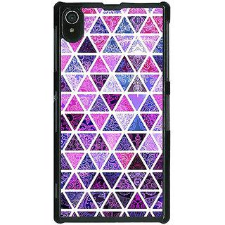 1 Crazy Designer Purple Triangles Pattern Back Cover Case For Sony Xperia Z2 C480268