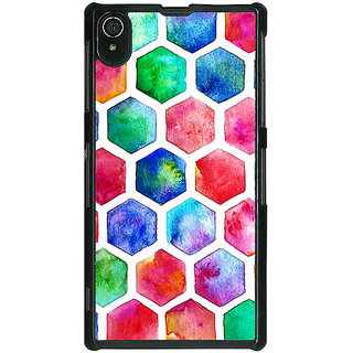 1 Crazy Designer Colour Hexagons Pattern Back Cover Case For Sony Xperia Z2 C480284