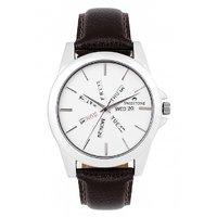 Swisstone Brown Leather Strap Analog Watch For Men/Boys- ST-GR015-WHT-BRW