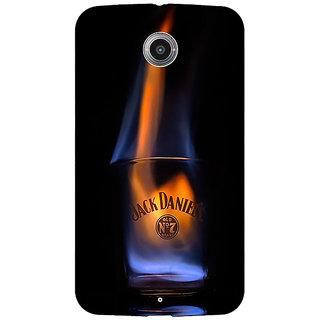 1 Crazy Designer Jack Daniels JD Whisky Flaming Back Cover Case For Google Nexus 6 C511212