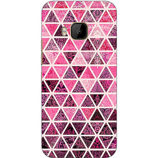 1 Crazy Designer Red Triangles Pattern Back Cover Case For HTC M9 C540266