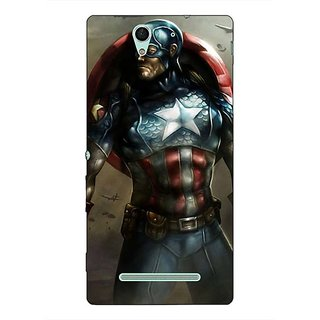 1 Crazy Designer Captain America Back Cover Case For Sony Xperia C3 C550852