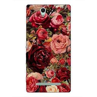 1 Crazy Designer Floral Pattern  Back Cover Case For Sony Xperia C3 C550680