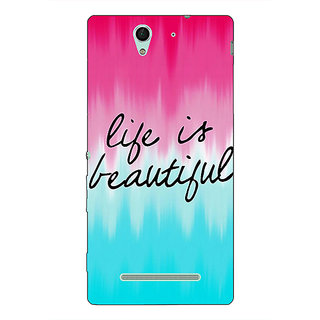 1 Crazy Designer Quotes Life is Beautiful Back Cover Case For Sony Xperia C3 C551175