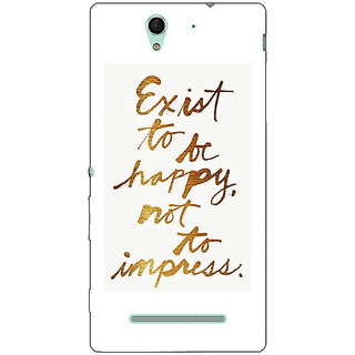 1 Crazy Designer Happy Quotes Back Cover Case For Sony Xperia C3 C551198