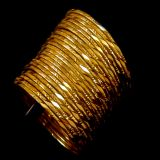 12 Pc Beautiful Fancy Design Gold Plated Bangle Set Size 2.4 En