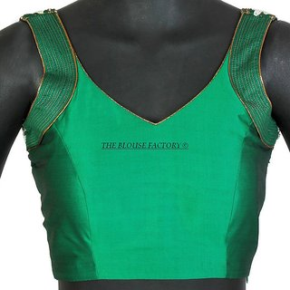 Green Sleeveless blouse with pearl work on shoulder with pleated back. (Non Padded).