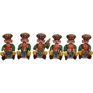 Gruvi Wooden Musical Bawla Showpiece Set of 6 pcs. Home Dcor