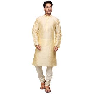 Golden Silk Kurta with Churidar Pyjama for Men by Trustedsnap