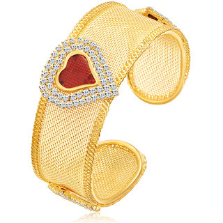 Sukkhi Sparkling Heart Shape Gold Plated AD Kada For Women