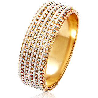 Sukkhi Golden White Alloy Gold Plated Bracelets For Women