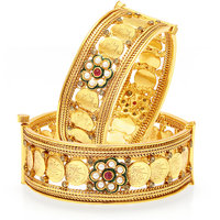 Sukkhi Glimmery Temple Jewellery Gold Plated Coin Bangle For Women