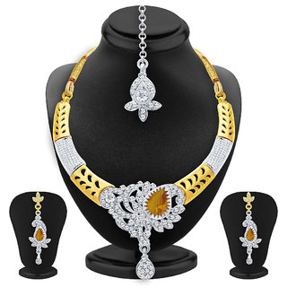 Sukkhi Pleasing Gold  Rhodium Plated AD Necklace Set For Women