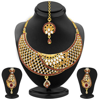 Sukkhi Glamorous Gold Plated AD and Kundan Necklace Set For Women