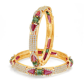 Sukkhi Fashionable Gold Plated Crystal AD Bangle For Women