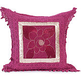 SUNFLOWER - Magenta Cotton Krochia Cushion Cover - Set Of 2