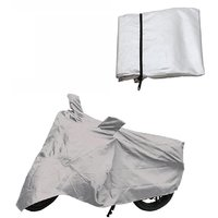 Bull Rider Bike Body Cover With Mirror Pocket For Honda Cb Trigger (Colour Silver)