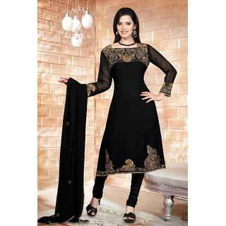 Zedds Black Kurta, Churidar and Dupatta Set with antique coloured embroidery