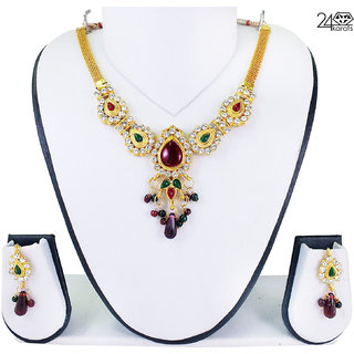Traditional Indian Gold Plated Necklace Set by 24Karats