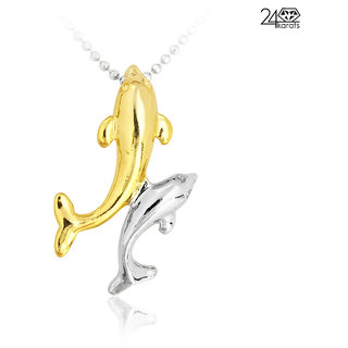 Double Fish Shaped Golden & Silver Pendant -10