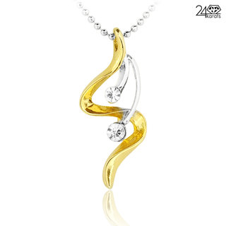 Gold & Silver Coated Double Austrian Diamond Pendant - 24Karats