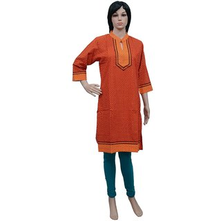 Indian Ethnic Style Cotton Long Kurti Beautiful Design Ladies Wear TOP-A0381