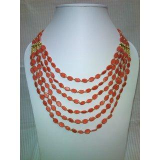 Life Crafts Peach Colour Stone Multi Layer Necklace