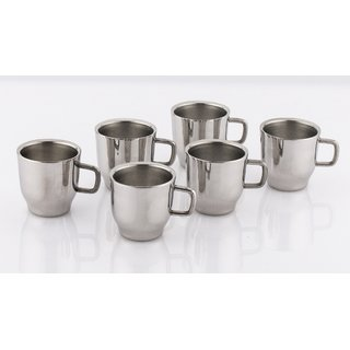Mahavir 6Pc Straight Liner Tea/Coffee Cup - Double Walled(ME6STCP)