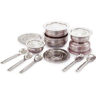 Mahavir 5Pc Stainless Steel Induction Base Flat Bottom Prabhu Chetty With Lid And Spoon - Metallic Red