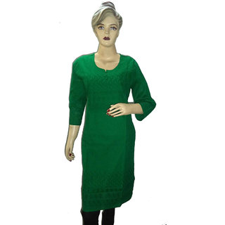 Clicktin Green Cotton Full Sleev Designer Kurti