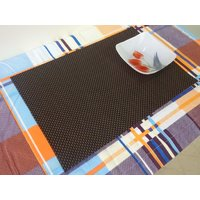 High Quality Basket Weave / Gripper Table Mats Set Of 6 Pcs - Brown  Black