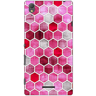 1 Crazy Designer Red Hexagons Pattern Back Cover Case For Sony Xperia T3 C640269