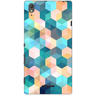 1 Crazy Designer Blue Hexagon Pattern Back Cover Case For Sony Xperia T3 C640277
