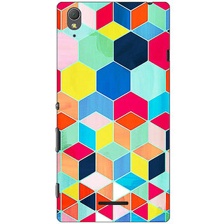 1 Crazy Designer Multicolour Hexagon Pattern Back Cover Case For Sony Xperia T3 C640286