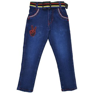 Baklol Blue Cotton Washed Jeans pattern solid comfortable to wear