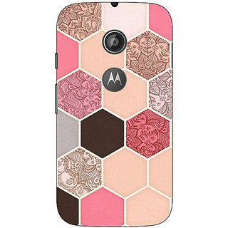 1 Crazy Designer Pink Hexagons Pattern Back Cover Case For Moto E2 C650271