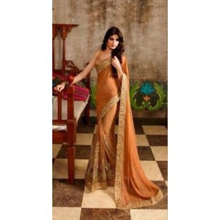 Beige Net Embroidered Designer Party Wear Saree available at ShopClues for Rs.3850