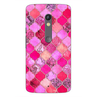 1 Crazy Designer Pink Moroccan Tiles Pattern Back Cover Case For Moto X Play C660288