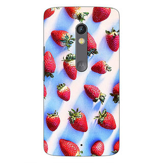 1 Crazy Designer StrawberryPattern Back Cover Case For Moto X Play C660202