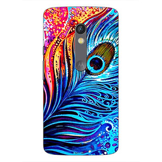 1 Crazy Designer Peacock Feather Back Cover Case For Moto X Play C660773