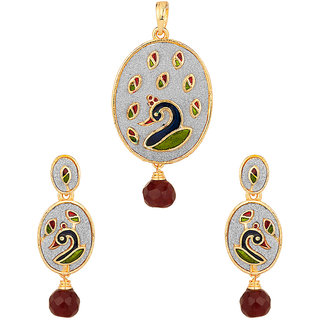 Oval Pendant Set With Peacock Design; Coloured Enamelling; Glitter