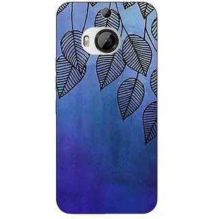 1 Crazy Designer Blue Leaves Pattern Back Cover Case For HTC M9 Plus C680218