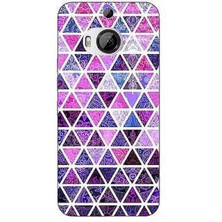 1 Crazy Designer Purple Triangles Pattern Back Cover Case For HTC M9 Plus C680268