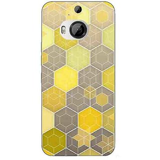 1 Crazy Designer Yellow Hexagons Pattern Back Cover Case For HTC M9 Plus C680273